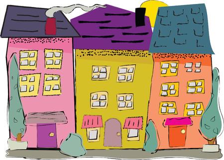 Ludiques, maisons colorées sur une rue dans un quartier Banque d'images - 33678966