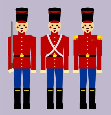 Three old fashioned style wooden soldiers, each one slightly different. Illustration