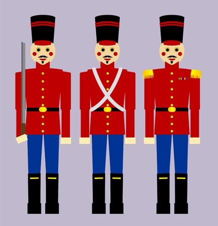 juguetes antiguos: Tres soldados de madera de estilo de moda de edad, cada uno un poco diferente. Vectores