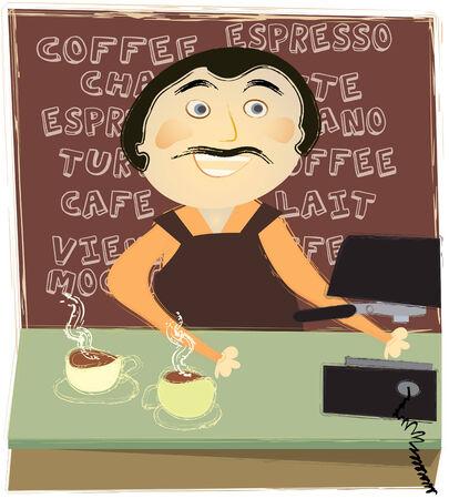 Homme travaillant à un compteur dans un café Banque d'images - 34078683