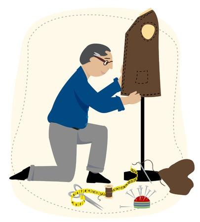 Un tailleur travaille sur une veste de costume. Il dispose d'un ruban à mesurer, épingles, mannequin de montage, etc. Banque d'images - 34297207