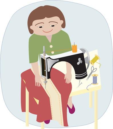 Une femme travaillant sur une table avec la machine à coudre et du tissu, épingles, ciseaux Banque d'images - 34372587