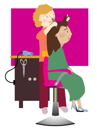 woman washing hair: A woman gets her hair done in the salon