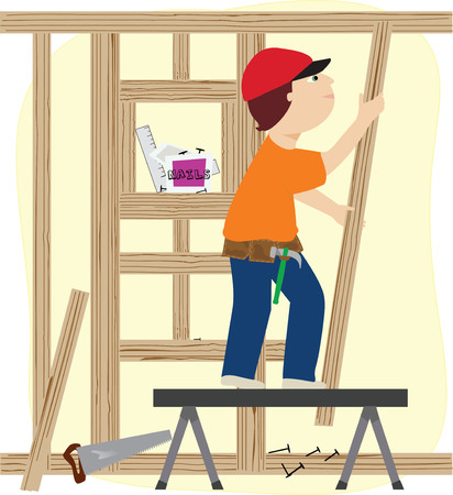 constructing: A working man constructing a wooden frame for a building
