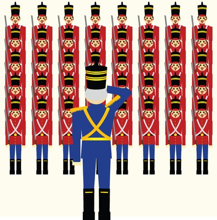 Army of wooden soldiers being saluted by their   General