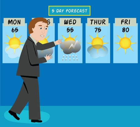 A tv weather man forecasts the weather