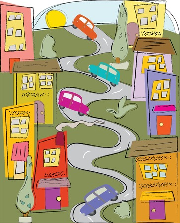 winding: Winding city street inspired by the famous Lombard St. in San Francisco Illustration