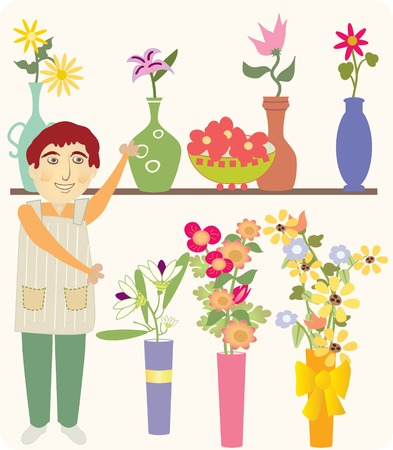 A man selling colorful flowers and interesting vases Ilustrace