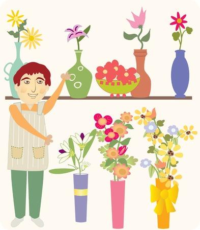 érdekes: Egy férfi eladási színes virágok és érdekes vázák