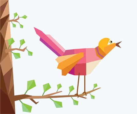 An illustration of a lovely, colorful bird singing in a tree, in low poly style. Ilustração