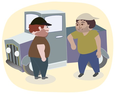 Deux hommes et un camion Banque d'images - 38793686