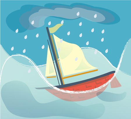Cartoon style sailing ship sinking in a stormy sea