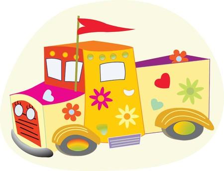 Ludique, camion colorée avec des coeurs, des fleurs Banque d'images - 39402071
