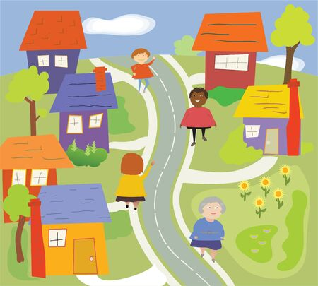 residential neighborhood: A colorful neighborhood scene with lawn, road, trees, diverse people.