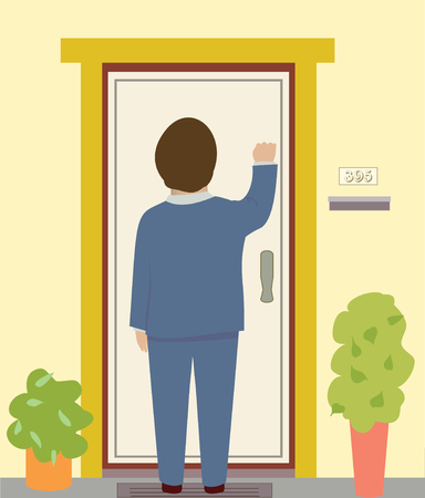 knocking: A man in a suit knocks on a door Illustration