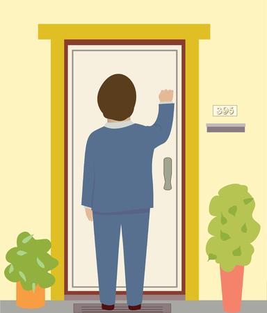 Un hombre con un traje llama a una puerta Foto de archivo - 40181896