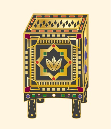A mysterious box- bejeweled, gold, legs and top.