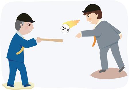 Un homme d'affaires emplacements une idée chaude à un autre Banque d'images - 41497485
