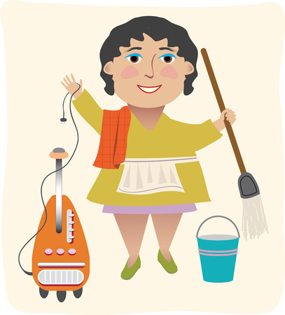 A cleaning lady with her vacuum, mop, etc. Ilustrace