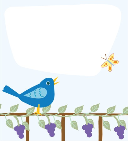 Cute message board with an area for text, bluebird, fence, grapevine, and butterfly Illusztráció