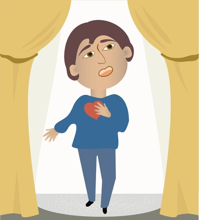 charming: A charming man sings from his heart on stage Illustration