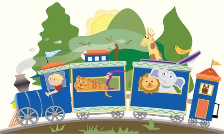 Cartoon train with an engineer, lion, tiger, dog, giraffe, bird, elephant Ilustrace