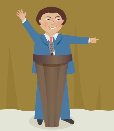 Homme dans un costume de parler à la tribune Banque d'images - 44228842
