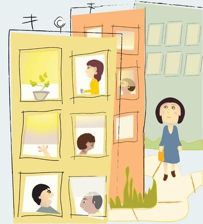 Un quartier de la ville colorée avec plusieurs personnes dans les fenêtres Banque d'images - 44226333