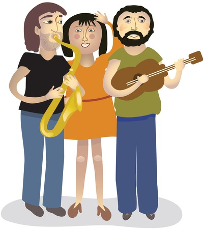 one woman: Two men and one woman singing and playing instruments