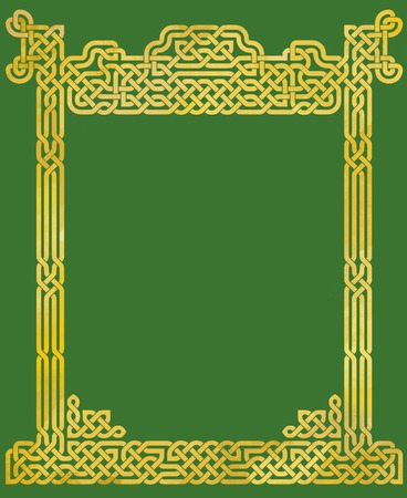 celtic background: Golden Celtic knot pattern in a frame, on a green background Stock Photo