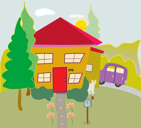 Colorful cartoon house with trees, car, cat, pathway, windows