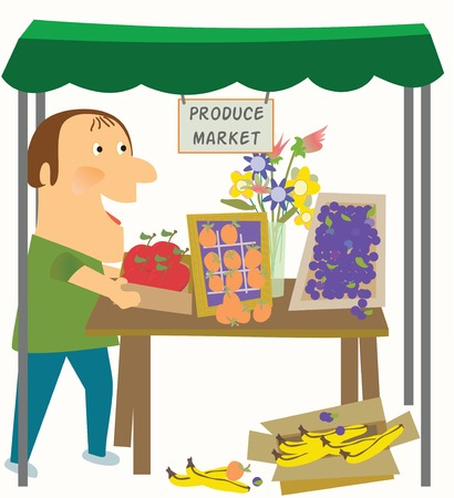 tends: A man tends to his stock in the produce Market Illustration