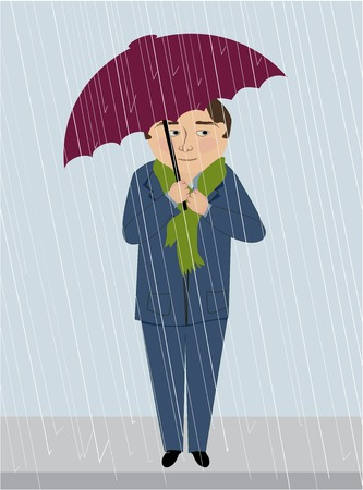 A man in the rain huddles under an umbrella Ilustrace