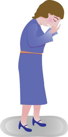 Une femme dans une robe bleue pleurer Banque d'images - 48514831