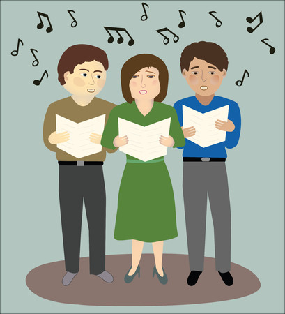 carolers: Two men, one woman singing, with musical notes Illustration