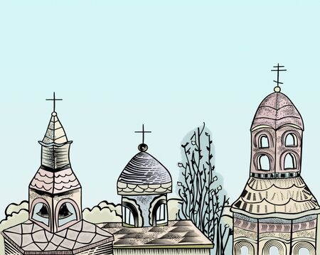 A pen and ink style illustration of some rooftops of churches Stok Fotoğraf