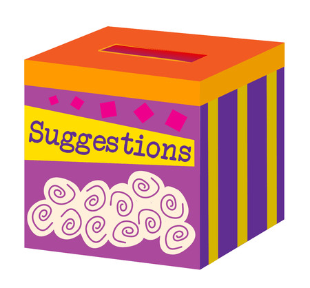 A colorful, playful box for taking suggestions