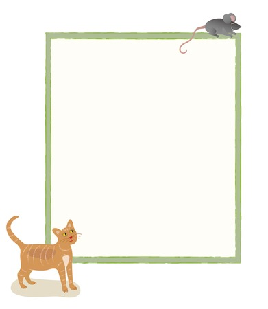 message board: A cat looking at a mouse at the top of a message board Stock Photo