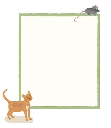 Un chat regardant une souris au dessus d'un babillard Banque d'images - 51687181