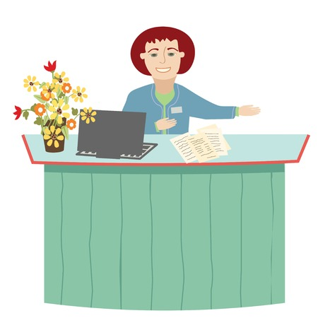 Woman Working at the Reception Desk