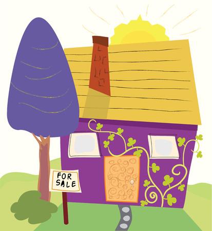Een cartoon-stijl huis uit voortuin met een te koop bord Stockfoto