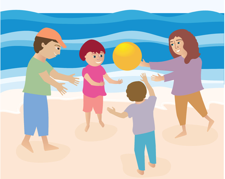 A family of four playing ball on the sandy beach Ilustrace