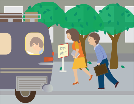 Two people run to catch the bus, has a bus, a passenger, trees, sidewalk, buildings
