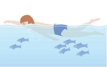 Un homme en maillot de bain nage avec les poissons d'une manière détendue Banque d'images - 59045960