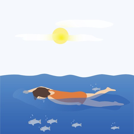 A woman swimming, with fish and sun Stock fotó - 59641480