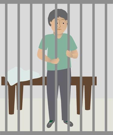 from behind: A man behind bars
