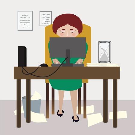 Une femme est assise à son bureau, travaillant à son travail Banque d'images - 64625732