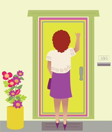 A nicely dressed woman knocks on a door, has colorful plant