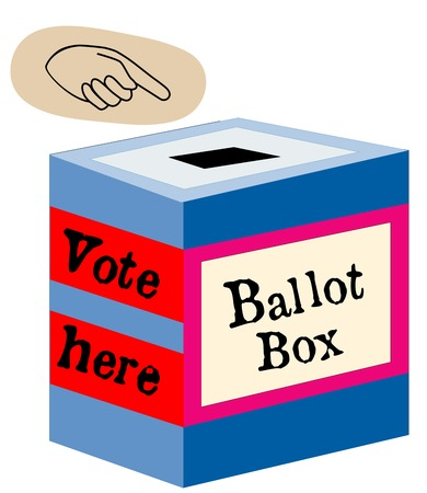 Red, white, blue ballot box