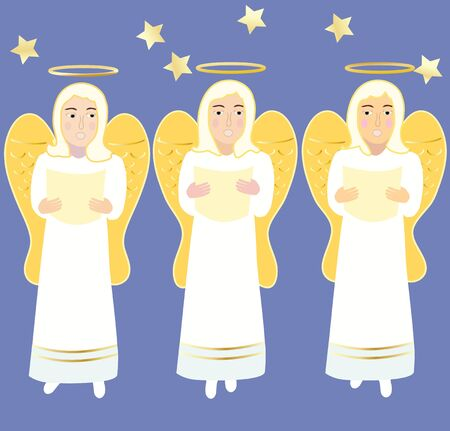 Three singing angels on a blue background with gold details
